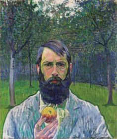 Self Portrait with Apple - Cuno Amiet
