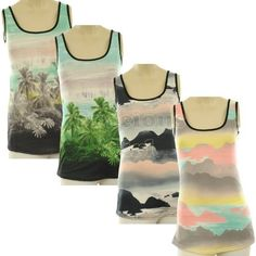 Camryn New Womens Hawai/Cloud Print Mesh Neckline Cut Out Back Ladies Top  Price : £7.99 http://www.graciousgirl.co.uk/Camryn-Womens-Hawai-Neckline-Ladies/dp/B00AVMLAOM