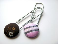 Recycled Necktie Paperclip / Bookmark Set of 2 - Pink Brown by Ascot Handbags, via Flickr