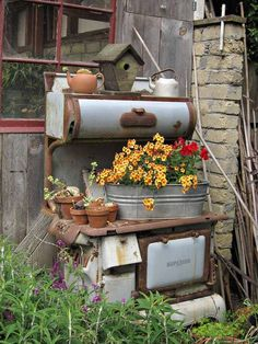Old Stove in the garden for display