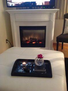 Gorgeous Dimplex mantel, and great decor details!