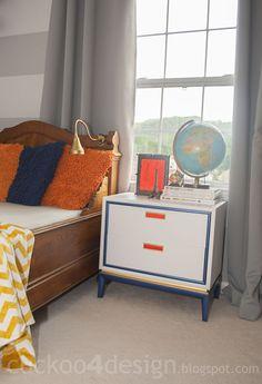 gold, white, blue and orange dresser makeover by cuckoo4design