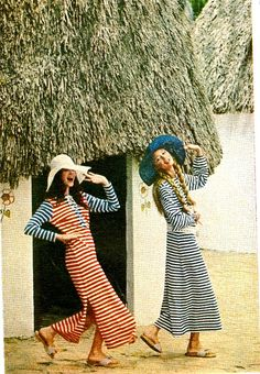striped nautical outfits, 1970's summer vacations, summer fun 1970, dress, fashion photographi, vintage nautical, sister sister, stripe, soul sisters, sailor style