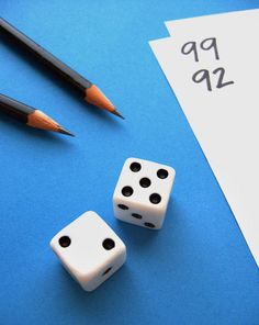 Start with 99, players roll the dice and subtract from 99. First player to zero wins.