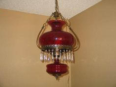 old oil lamps - cranberry hanging lamp, not mine but beautiful!!