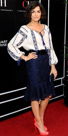 06/27/13: At a CH Carolina Herrera event, Camilla Belle hit the red carpet in the label's tasseled blue-and-white blouse tucked into a navy lace pencil skirt with a mermaid hem. She stepped it up with her accessories, adding a blue patent belt and bright coral peep-toes. #lookoftheday ch carolina, fashion, blue, outfit, red carpets, carolina herrera, camilla belle, pencil skirts, shoe