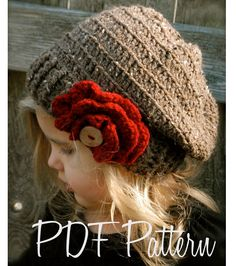 Crochet PATTERN-The Scarlett Slouchy (Toddler, Child, Adult sizes)