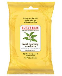 Burt's Bees Facial Cleansing Towelettes with White Tea...Makes taking my makeup off so much easier.  Nice and gentle, doesn't irritate my skin.