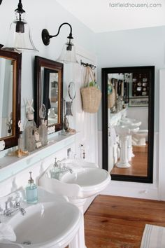Mirrors in bathroom