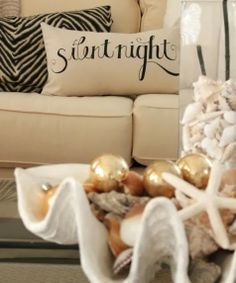 Coastal Christmas decorating with clam bowls.
