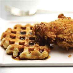 A soulful combo, homemade buttermilk fried chicken with sage waffles, satisfies all the cravings. Drizzle with molasses-cider syrup instead of typical maple syrup for a unique eating experience. waffle recipes, waffles, food trend, brunch recip, fri chicken, ricotta frittata, fried chicken, molassescid syrup, featur recip