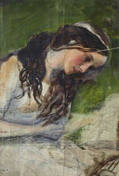 Arthur Hughes  - Study of a Head  for 'La belle dame sans merci'