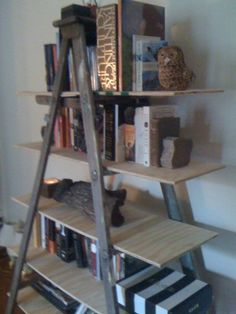 old books decorating, ladder bookshelf, idea, ladders as shelves, decorating with old pictures, bookshelf ladder, easy house decor, diy, make a wood ladder shelf