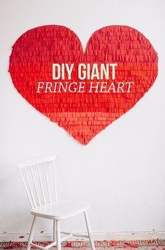 DIY giant fringe heart backdrop | Best Day Ever