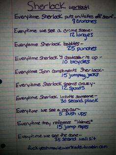 Sherlock workout!  Want to see more workouts like this one? Follow us here.
