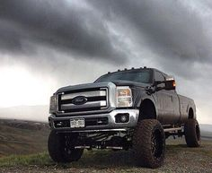 Big Black Lifted Ford Diesel Truck