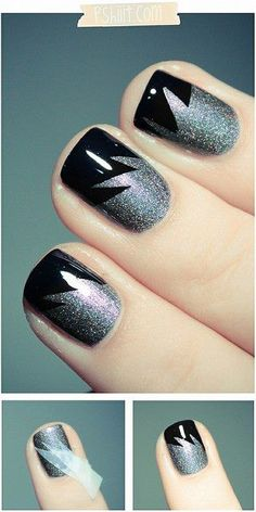 "Way cool for winter time. Maybe use dark blue instead of black to give it a winter ""feel"" spike, nail techniques, nail polish, nailpolish, nail designs, manicur, nail arts, black nails, tape"