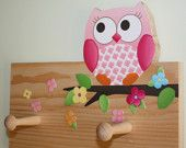Owls Love Flowers Girls Clothes Peg Rack for Kids Bedroom Baby Nursery