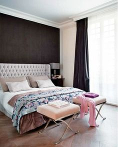 Upholstered Bed against dark wall color