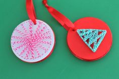 Your kids have never seen homemade Christmas ornaments like these Fun String Art Ornaments before! There are so many great things that your little ones can do to make these Christmas ornaments for kids.   AllFreeKidsCrafts.com