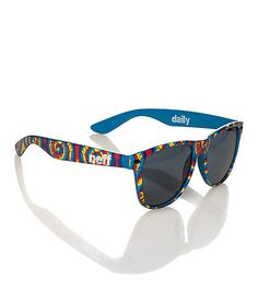 NEFF Fashion sunglasses 400 UV Ray protection Tie dye print frames and temples (arms) Blue interior Slightly tinted Comes in cinch bag/case