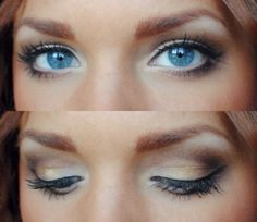 really pretty and soft, with just a little sass to not be so boring, love the white in the corners lights, eyeshadow, weddings, makeup ideas, blue eye makeup, bright eyes, wedding makeup, baby blues, shadows