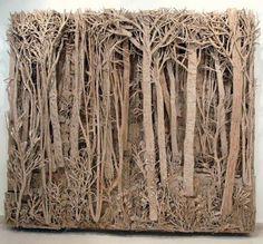 A cardboard forest