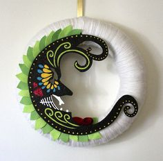 Moon Wreath, Handpainted Wreath, Day of the Dead Inspired Wreath, Yarn and Felt Wreath,