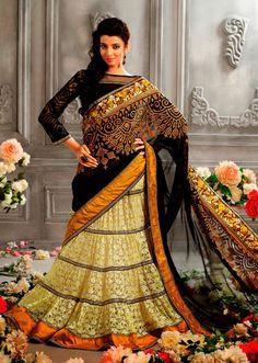 USD 103.92 Black and Cream Embroidered Designer Lehenga Saree  33593