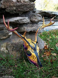 Dead Tree Sunset Painted Deer Skull.