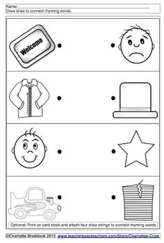 Charlotte's Clips: Rhyme Time Freebie Printable.  You can also add shoe strings and print on card stock to make into a rhyming word center activity.