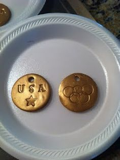 Clay Olympic medals craft from http://gymnasticsparty.blogspot.co.uk/2011/09/olympic-medals.html
