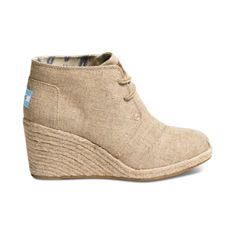 Shop for Womens TOMS Desert Wedge Casual Shoe in Natural at Journeys Shoes. Shop today for the hottest brands in mens shoes and womens shoes at Journeys.com.The TOMS Desert Wedge features a burlap upper with crafty stitch details, monochromatic lacing, and woven espadrille-style heel. Heel height is approximately 2 34.