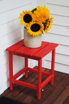 Recycled plastic, Polywood side table. Two things I love about this: red furniture is beautiful, and sustainable furniture is the future!