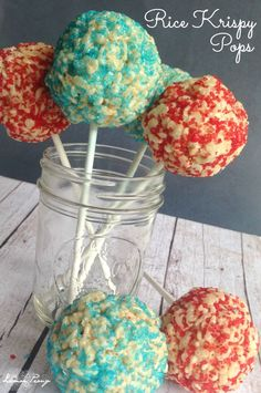 Rice Krispy Pops Recipe   4th of July Dessert!