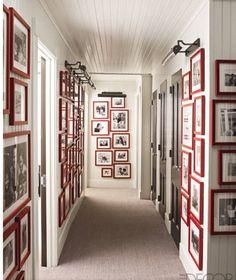 galleries, red, elle decor, hallways, white walls, gallery walls, hous, picture frames, black