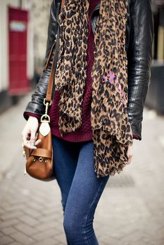 leopard scarf with pink flowers awesome!
