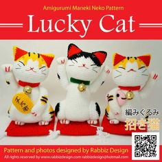 ♡.·° THIS IS CROCHET PATTERN ONLY - NOT A FINISHED TOY ♡.·°    This Amigurumi Maneki Neko (Lucky Cat) Pattern created by Rabbiz Design. The finished