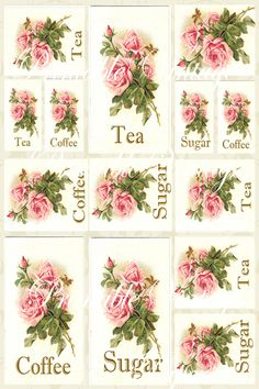 Vintage Roses Labels Digital Collage Sheet-collage sheet, rose, labels, sugar, supplies,