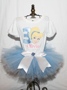 Cinderella Inspired Birthday Shirt and Tutu by SewYouBoutique, $40.00