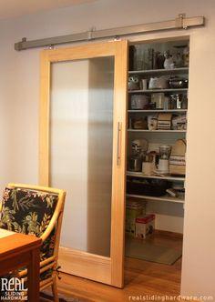 Contemporary sliding pantry door.