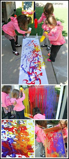 Pollock drip painting: Fill up some condiment bottles with paint and squeeze to create works of art.