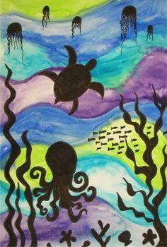 art museum, leaf silhouett, collag, paint background, artwork, under sea