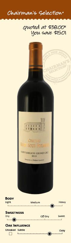"""Château Ambe Tour Pourret St.-Emilion Grand Cru Bordeaux, France 2010 """"Initially, this is tight, minerally and structured, but as the wine opens, intense dark fruits and rich tannins surface, creating an opulent, juicy character. The vineyard is planted with 75% Merlot and 25% Cabernet Franc, and it's the combination in 2010 that gives such a vital, rich and structured selection."""" *92 Points & Editors Choice, Wine Enthusiast Online, March 1, 2013. $22.99"""