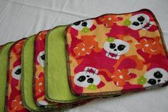 Day of the Dead Sugar Skulls Cloth Diaper Wipes by LagamorphLounge, $10.00