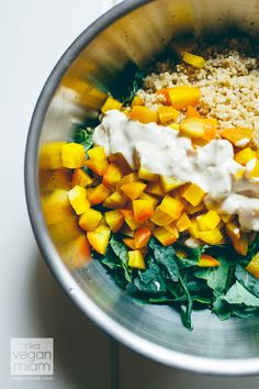 #Vegan #GlutenFree #Soyfree Roasted Golden Beetroot, Quinoa & Kale Salad with Zesty Tahini Dressing, Carrots and Crushed Hazelnuts   vegan miam