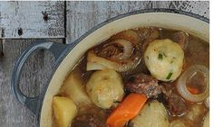 Gluten-free beef stew with wasabi and chive dumplings