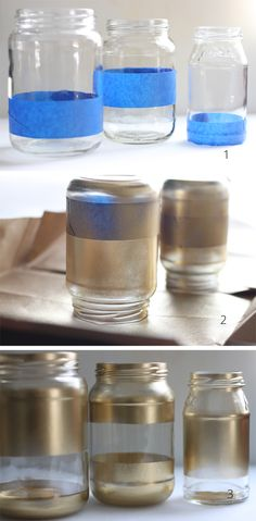 Ok... So I tried the rubber-band with spray paint trick (didn't work for me)... So now I'm going to try this.  I want a Bumble Bee look for vases for my daughter's nursery! Bees Jars, Decor Ideas, Sprays Painting Jars, Jars Sprays, Paint Mason Jars, Diy Jars, Crafts Decor, Gold Sprays, Painted Jars