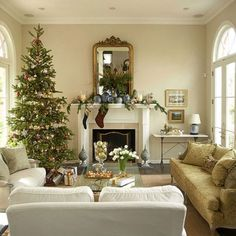 Elegant Christmas Tree and decor, using white and neutrals