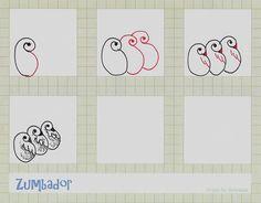 Zumbador-Tangle pattern by molossus, who says Life Imitates Doodles, via Flickr